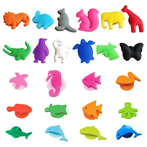 REAMTOP Cartoon Animal Silicone Glass Marker Party Dedicated Tag Suction Cup Sea Buddies Wine Charms Recognizer Marker Tools 24Pcs 2 Sets