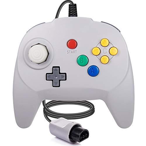 [Nueva versión] para controlador N64, mando de juego para N64 – Plug & Play (versión USB no PC) (Joystick del Japón), color gris