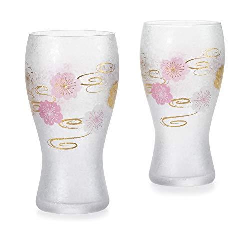アデリア ビールグラス ペアセット 桜水紋 約380ml ビアグラス プレミアムニッポンテイスト 日本製 S-6300