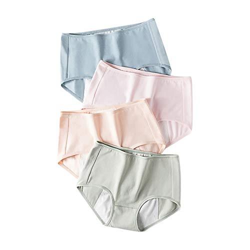 Ghemdilmn Bragas de cintura media para mujer, sin costuras, de un solo color, sin costuras, bragas estilo hipster, bragas de cintura media, nalgas, paquete de 4 unidades multicolor L
