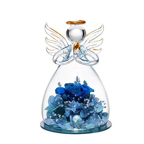 ANLUNOB Forever Rose in Angel Cupola di Vetro Figurine Fiore Artificiale Fiori eterni Galassia Rosa Blu Scuro Regali Unici per Le Donne Matrimonio di Natale San Valentino Anniversario e Compleanno