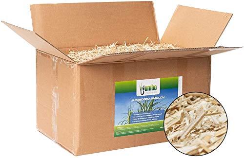Jumbogras® Rindenmulch-Alternative: Garten-Mulch aus Miscanthus/Chinagras/Elefantengras-Häcksel für Pflegeleichte Gärten/Gartengestaltung/Gartenpflege (2X 70-Liter-Karton)