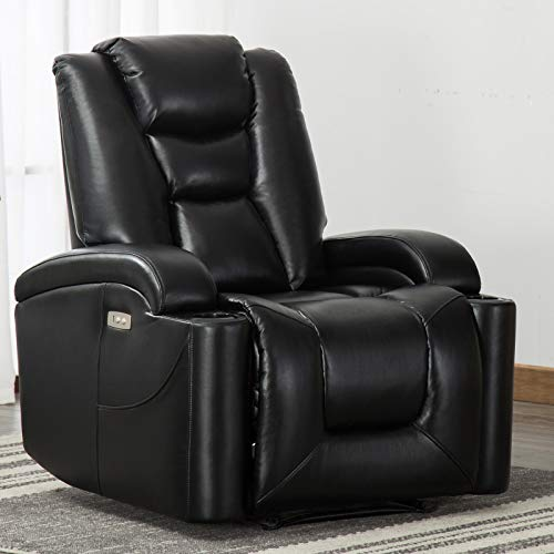 ANJ Electric Power Recliner Chair with Cup Holders and USB Port, Breathable Bonded Leather Home Theater Seating,Classic Single Sofa Seat Black