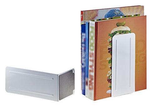 """Acrimet Jumbo Premium Metal Bookends 9"""" (Heavy Duty) (White Color) (1 Pair) Photo #2"""