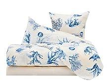 L'EMPORIO CASA Juego completo de sábanas con diseño de peces corales, para cama de matrimonio, sábana muy suave, 100% puro algodón italiano