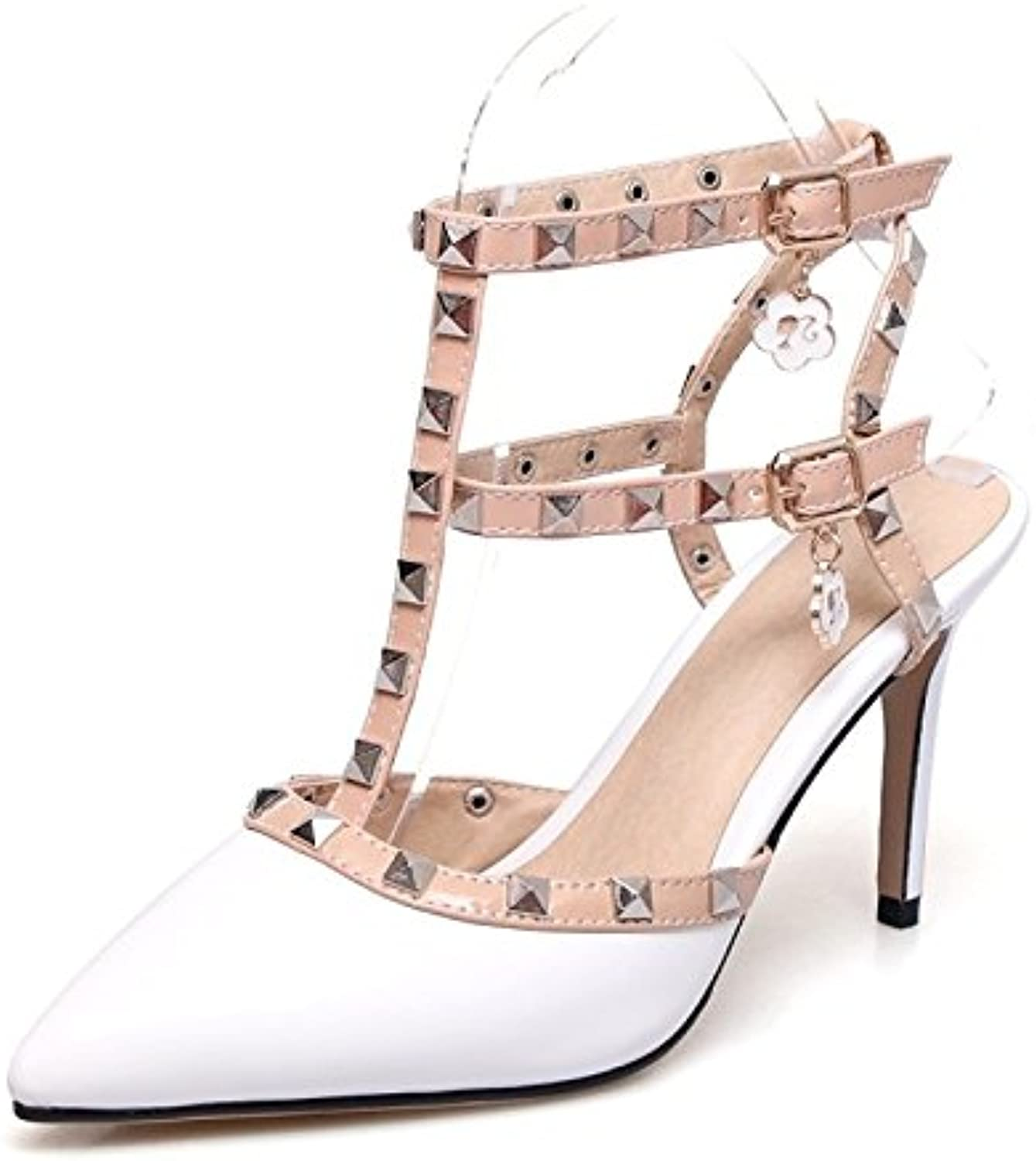 Women's shoes Leatherette Summer Comfort Sandals Stiletto Heel Pointed Toe Rivet Buckle for Wedding Party,Evening White Black
