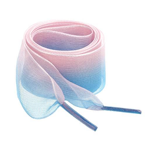 sourcing map Lacets Plats Larges 2,5cm pour Lacets Chaussures Organza Couleur Dégradé pour Femmes Rose bleu 80 cm / 31 '