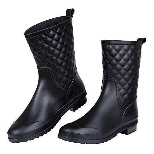 Women's Mid Calf Black Rain Boots Waterproof Lightweight Garden Shoes, 8 Size