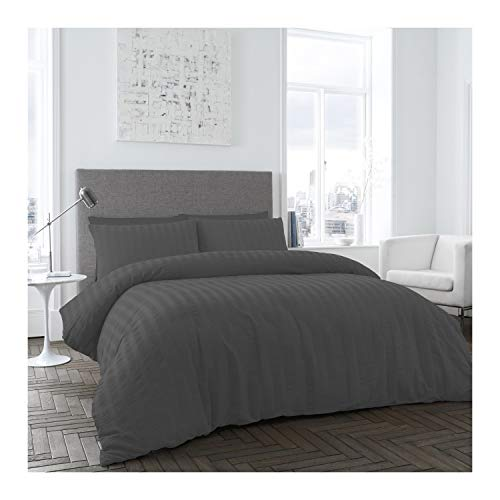Gaveno Cavailia Luxury Seersucker Duvet Cover Quilt with Pillow Cases, 100% Polyester Super Soft Bed Set, Double, Charcoal