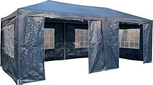 Airwave 3 x 6m Party Tent Gazebo Marquee with 2  x  Unique WindBars and Side Panels 120g Waterproof Canopy, Blue, 120g