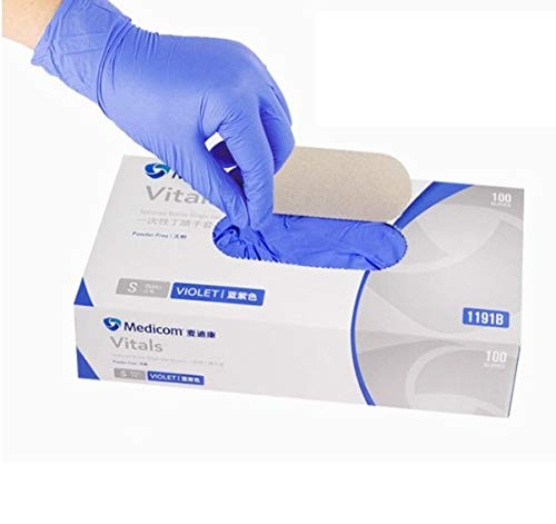 100pcs Medical Nitrile Disposable Gloves, Powder Free Latex Free Food Grade PVC Gloves (Purple, L)