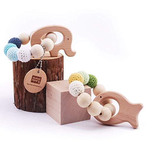 Mamimami Home 2pc bébé dentier bois naturel dentition anneau nourrissant crochet perles bois poisson éléphant rattle jouet organique bébé jouets