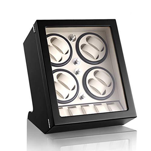 Cajas giratorias para 8 Relojes mecánicos y 5 Posición de Almacenamiento, Pintura de Piano Motor japonés Mudo, Enrollador de Reloj Watch Winder con 5 Modos de rotación,Black_White