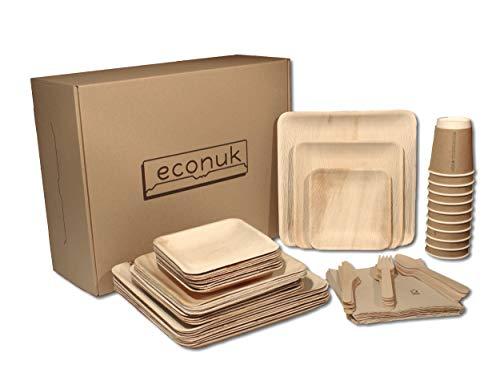 econuk – Juego Completo de Platos Vasos Cubiertos y Servilletas Desechables Biodegradables para 10 Personas 70 Piezas + Extras - Platos Hoja de Palma vajilla desechable ecologica
