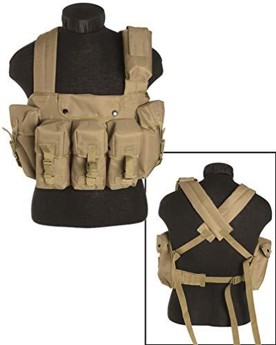 Mil-Tec Taktische Weste Chest Rigg 6 Pocket Army Taktikweste Paintball Einsatzweste Kampfweste Modularsystem viele Farben (Coyote)