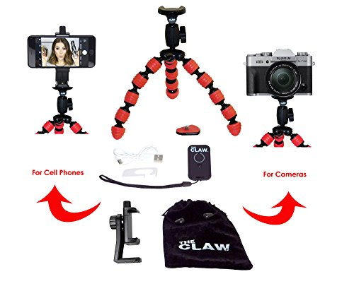 Large Flexible Phone Camera Tripod Durable and Adjustable with Remote Shutter for IOS iPhone plus+ Universal Attachment Mount Featuring Compact Bendable Octopus legs (red) CLAW