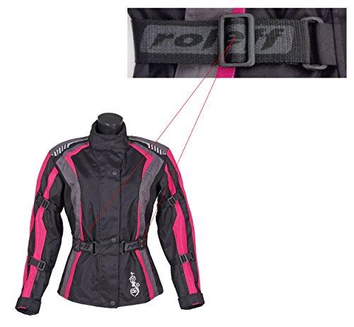 Roleff Racewear Damen Textil Motorradjacke mit Protektoren, Gute Belüftung, Taillierter Schnitt, Schwarz, Pink , Größe XXL - 4