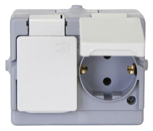 Kopp 130248006 Schutzkontakt-Steckdose 2-fach, Aufputz-Feuchtraum Standard