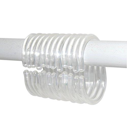 QHGstore Biegbare durchsichtige C Form hängende Duschvorhang Ringe 12pieces