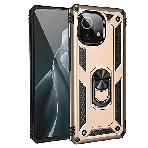 UILY Funda Compatible para Xiaomi Mi 11 Lite 5G, Carcasa Apoyo Giratorio 360° con Función Coche, Nivel Militar Anti-Caída Cáscara. Oro
