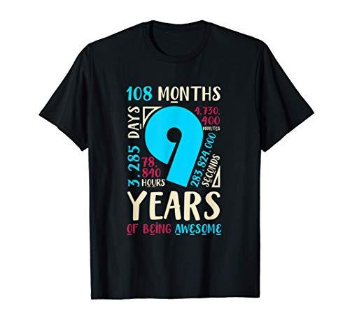 9th Birthday Gifts Son Daughter Nine 9 Year Old Boys Girls T-Shirt