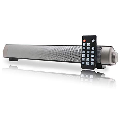 Barra de Sonido PC Altavoz, Soundbar con Cable y inalámbrico, Altavoz estéreo con Mando a Distancia, Soundbar USB portátil para Cine en casa, Ordenador, móvil, Soporte [RCA, AUX]