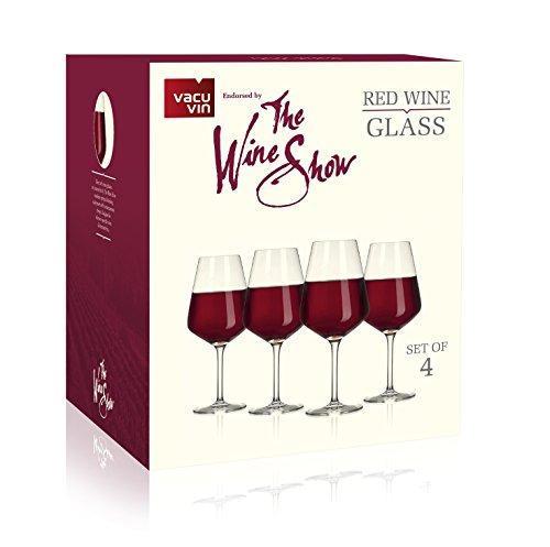 Le vin Show par Vacu vin Verres à vin, Rouge, Lot de 4
