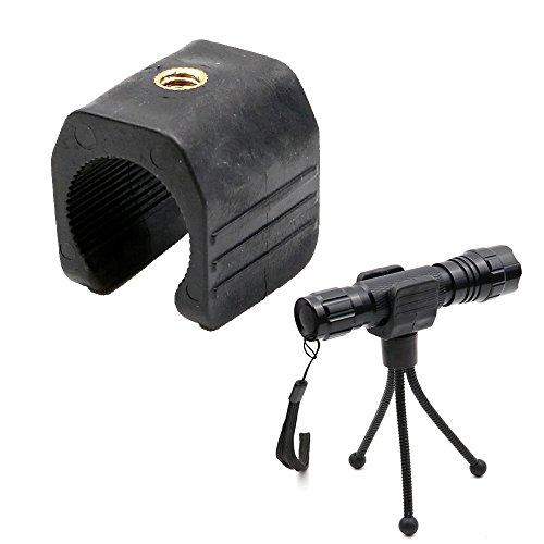 EZYoutdoor Flashlight Mount Tripod Holder Stand Bracket, Flashlight Holder for Tripod,Bicycle LED Light Flashlight Torch Rotate Adjustable U Shape Clip Mount Clamp for Tripod (Tripod NOT Included)