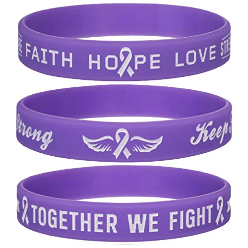 Sainstone Purple Awareness Ribbon Silicone Bracelets with Motivational Saying - Faith Hope Love - Together WE Fight - Cancer & Cause Wristbands Gifts for Men Women, Patients, Family, Friends (3-Pack)