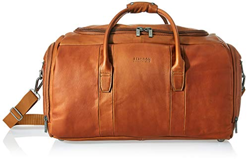 """Kenneth Cole Reaction Duff Guy Colombian Leather 20"""" Single Compartment Top Load Travel Duffel Bag, Cognac"""