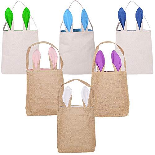 LSJDEER 6 satz osterhase taschen, kaninchen-ohr-ostern körbe, burlap jute tuch-geschenk-beutel für osterei-jagden, süßigkeiten und carry buckets zu ostern partei (6pcs)