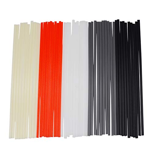 EGSTAOR 50PCS Plastic Welding Rods - PP/PVC/PE Plastic Welder Rods for Hot Air Gun, 10 Inch (Each Color 10PCS)