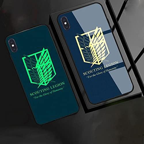 Funda para Teléfono,Estuche para iPhone con Cordón Estuche Protector Resplandor Nocturno Anime 3D Attack On Titan Carcasa De Vidrio Templado Antifricción Compatible con iPhone 12
