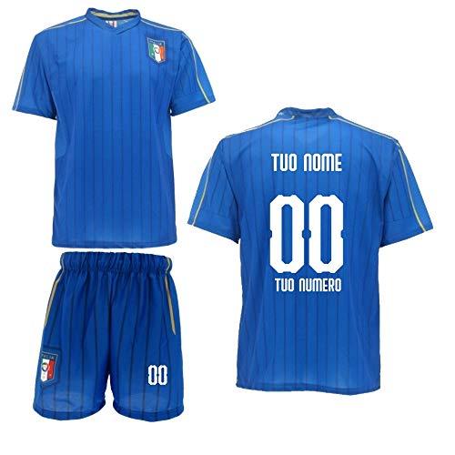 BrolloGroup Completo Calcio Italia Personalizzata Maglia Pantaloncini Replica FIGC PS 31470 (10 Anni)