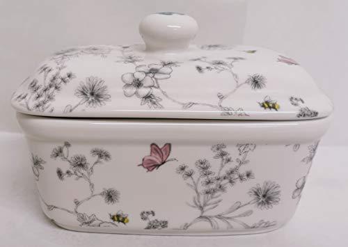 Secret Garden Butter Dish Fine China Flowers Butterflies Bees Hand Decorated in UK