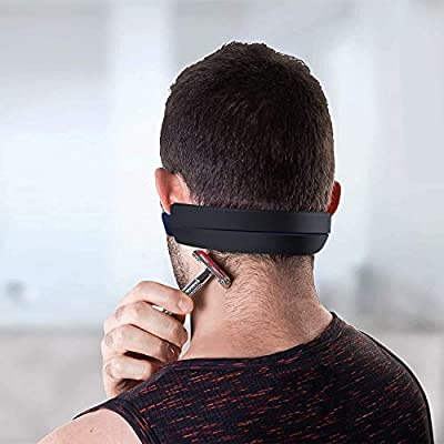Neck Hair Line Template, Straight or Curved Hair Line Neckline Shaving Template, Non-Slip, Skin Safe Silicone Stencil for DIY Shaving and Keeping Neckline Haircuts