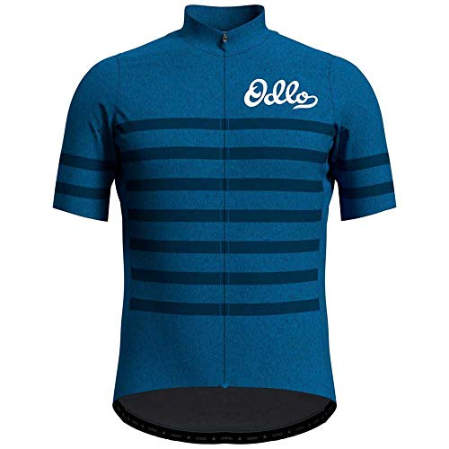 Odlo Herren Element Stand-up Collar Full Zip Longsleeve T-Shirt, Blue Aster Melange - Estate Blue, XXL