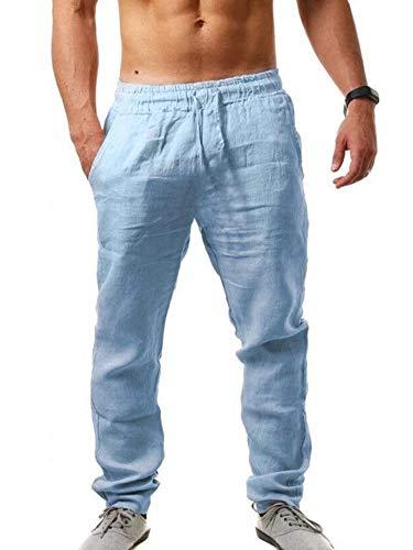 Pantalon de sport en coton et lin pour homme, style hip-hop - Bleu - XX-Large