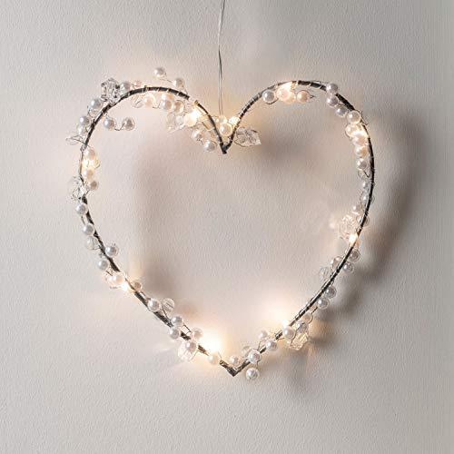 Lights4fun - Ghirlanda a Forma di Cuore con 10 Luci LED Bianco Caldo e Perle