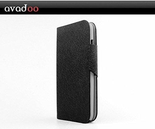 avadoo® Wiko Darkfull Flip Hülle Cover in Schwarz mit Magnetverschluss als Cover Tasche Hülle
