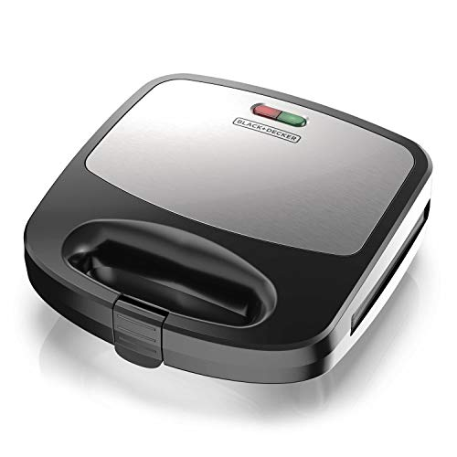 Black+Decker 3-in-1 WM2000SD 3-in-1 Waffle, Grill & Sandwich Maker, Compact Design, Black/Silver
