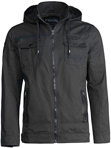Trisens Herren ÜBERGANGSJACKE Military Style Kapuze Jacke Army Fliegerjacke, Farbe:Schwarz, Größe:M