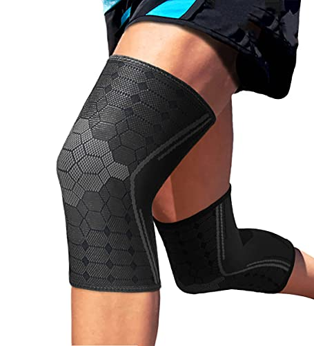 Sparthos Knee Compression Sleeves by (Pair) – Support for Sports, Running, Joint Pain Relief –...