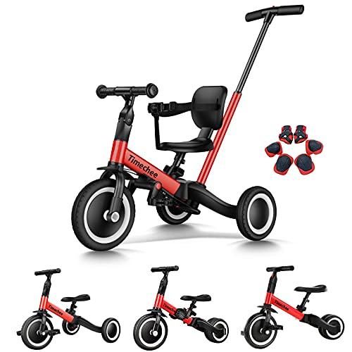 Timechee 三輪車 手押し棒付き 折りたたみ ペダルなし自転車 子供用 1歳-5歳 変身可能 ノーパンク タイヤ サドル ハンドル調節可能 保護具付き 4in1子ども自転車 軽量 コンパクト 組み立て簡単 プレゼント 赤色