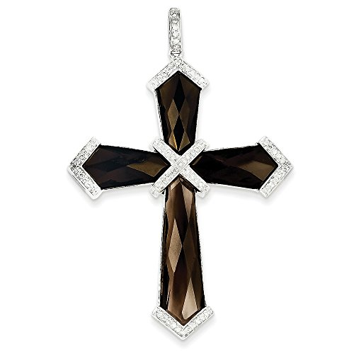 14k White Gold Diamond And Smokey Quartz Cross Pendant