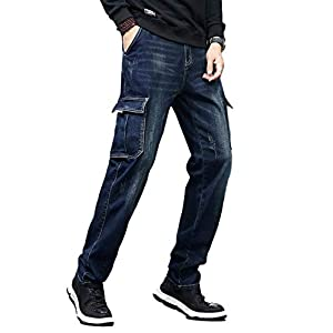 Idopy Men`s Cargo Jeans Regular Stretchy Motorcycle Distressed Denim Pants