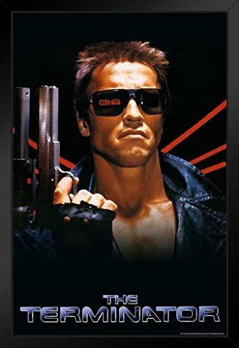 The Terminator Key Art Action Movie SciFi Gun Classic 1984 Retro Vintage Style Black Wood Framed Poster 14x20