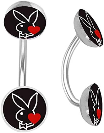 Officially Licensed Double Picture Playboy Bunny Belly Navel Ring Piercing bar Body Jewelry 14g