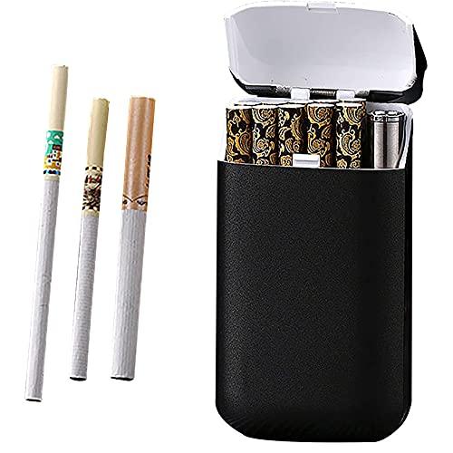 HHYHOME Encendedor Recargable 2 En 1,Estuche para Cigarrillos,con Diseño USB Recargable Y Resistente Al Viento,para 10 Cigarrillos,Unisex,B