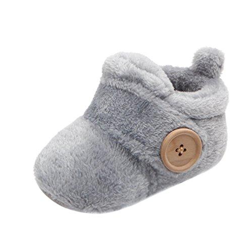 Yuncai Niedlich Kleinkind Schuhe Warm Gemütlich Baumwollschuhe für 0-12 Monat Baby Grau 11